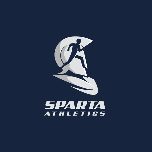 Helmet logo with the title 'Negative space logo for Sparta Athletics'
