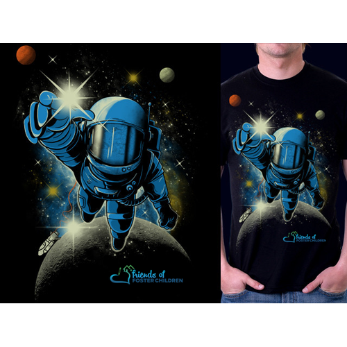 Astronaut t-shirt with the title 'Reach The Stars'