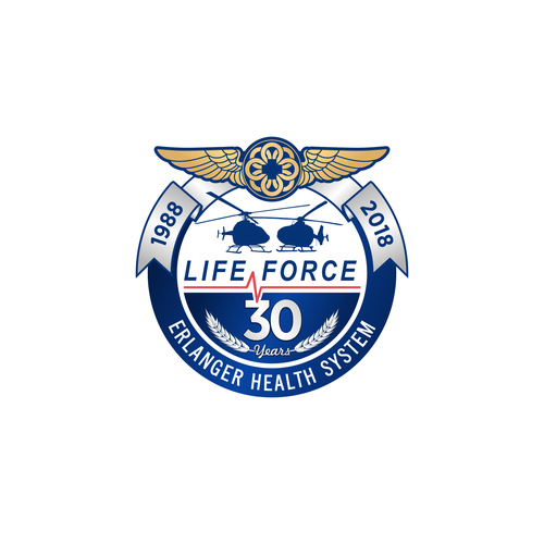 Aircraft logo with the title 'Air Medic Anniversary Emblematic Logo'