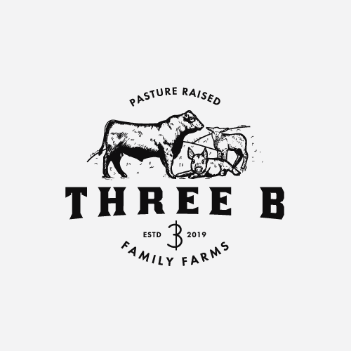Cow logo with the title 'Hand drawn farm logo concept'