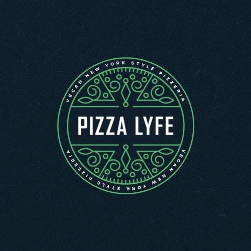Vegan logo with the title 'Modern Hip Pizza Logo'
