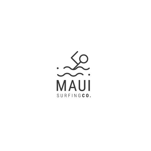 Extreme sport logo with the title 'Maui Surfing Co. '