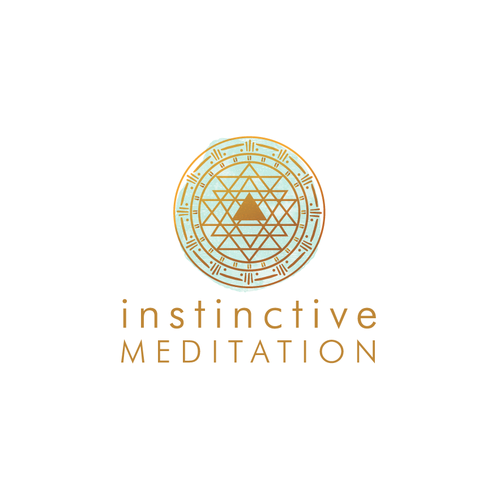 Aqua logo with the title 'Instinctive Meditation logo, individual and group instruction in meditation business'