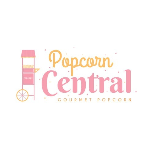 Carnival logo with the title 'Gourmet Popcorn Logo Concept'