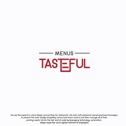 Menu logo with the title 'tasteful menu'