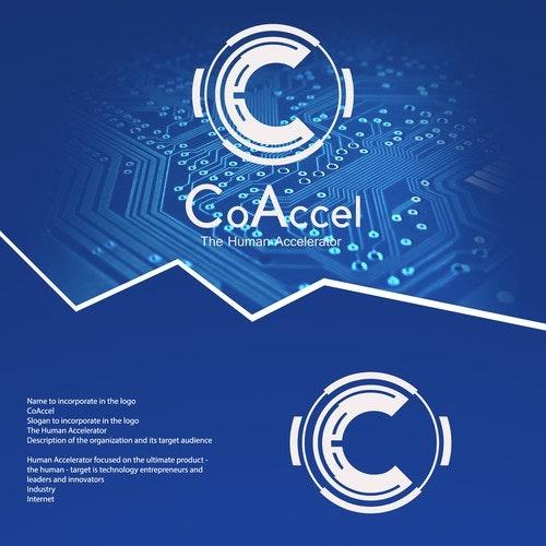 Symmetrical logo with the title 'The human accelerator logo design'