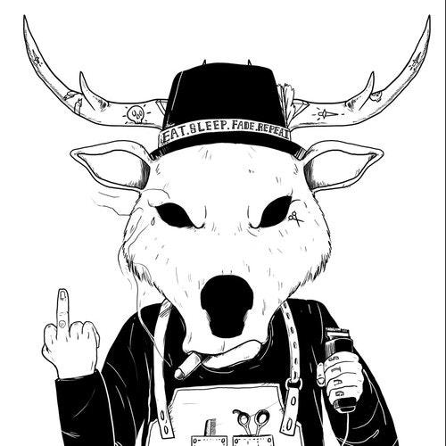 Deer t-shirt with the title 'badass '