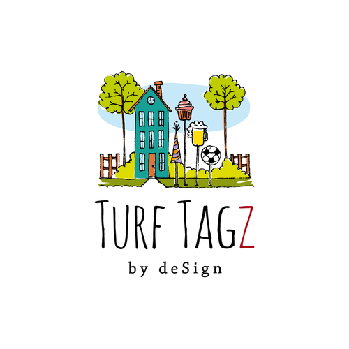 Signage logo with the title 'turf tagz'