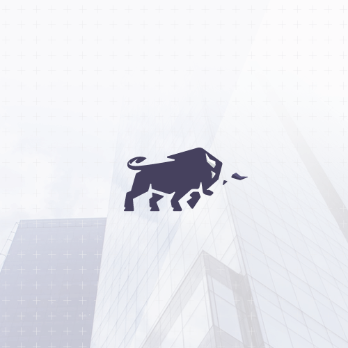 Flat logo with the title 'Minimalistic bull design'