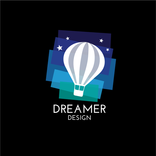 Hot air balloon logo with the title 'Colourful logo design '