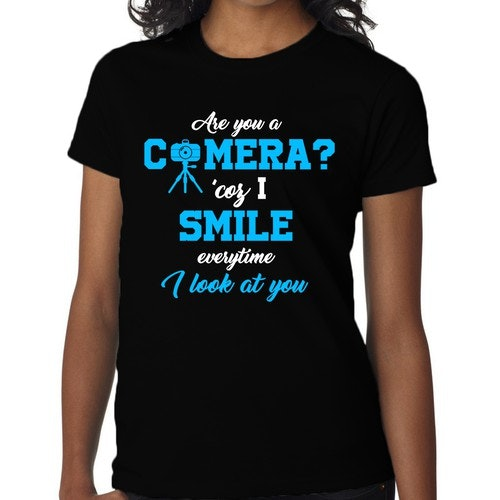 Smile t-shirt with the title 'Are you a camera pick-up line shirt'