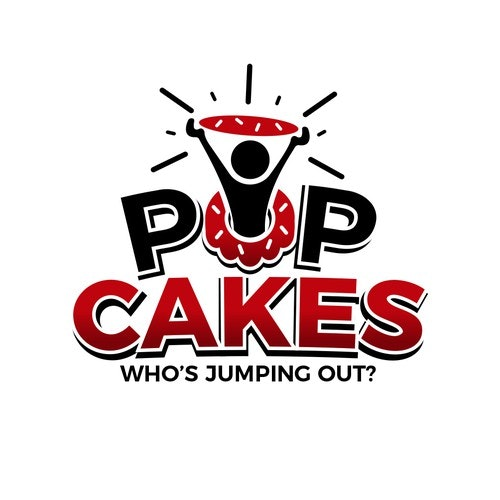 Pop logo with the title 'Poping logo for a Cake builder company.'