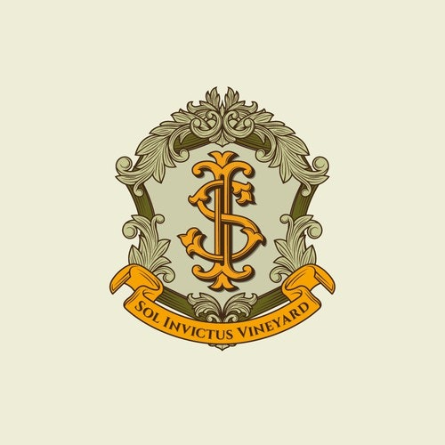 Crest logo with the title 'Classic crest logo design for Sol Invictus Vineyard'