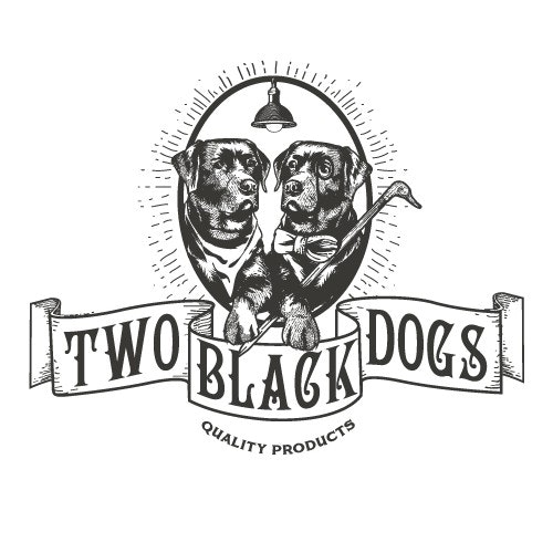 Black logo with the title 'Two black dogs'