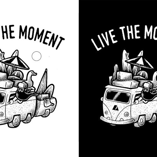 Hipster t-shirt with the title 'Live The Moment'