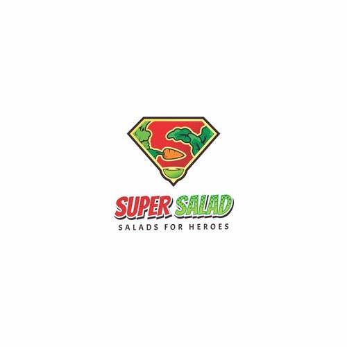 Salad logo with the title 'Superhero Themed Logo for Super Salad'