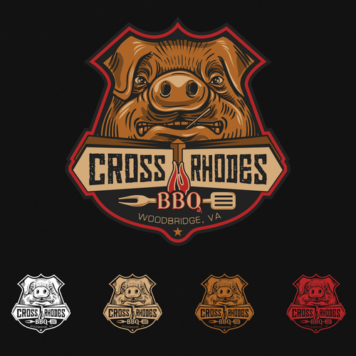 Pig logo with the title 'BADASS logo for CROSS RHODES BBQ'