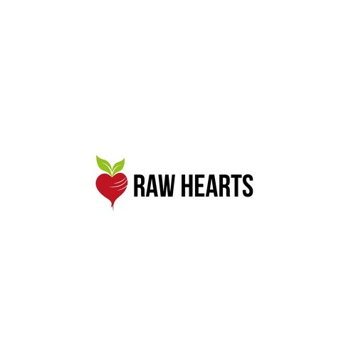 Vegetable logo with the title 'Raw hearts'