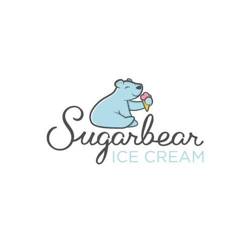 Mascot logo with the title 'Polar bear ice cream'