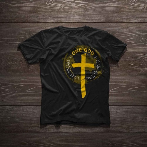 Gold t-shirt with the title 'T-Shirt Design for Christian Soccer Team'
