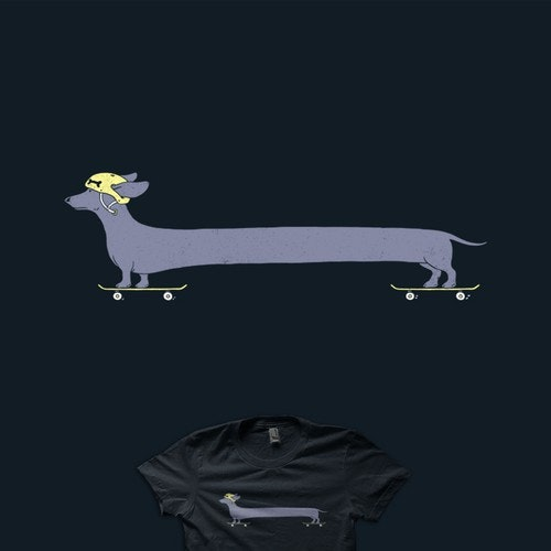 Dog t-shirt with the title 'Long Skater'