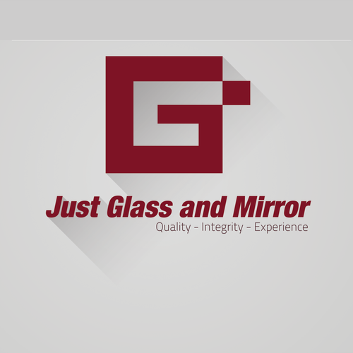 Mirror logo with the title 'Create an outstanding design for an outstanding company, Just Glass and Mirror.'