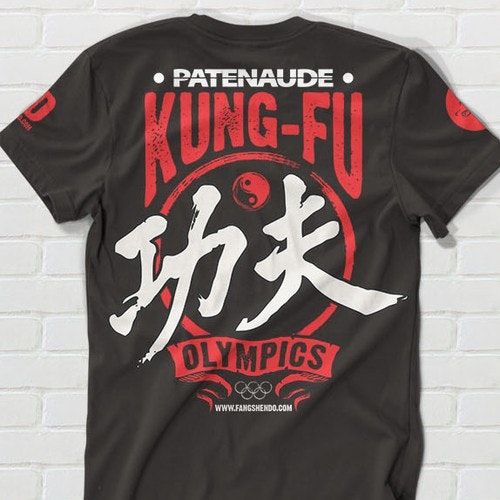 Martial arts t-shirt with the title 'Create a cool t-shirt for kids olympics competition with a kung fu twist!'