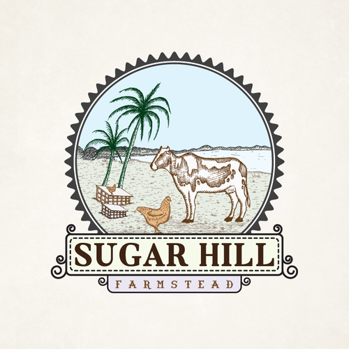Sugar logo with the title 'Create Vintage Logo for Hawaii Farm'