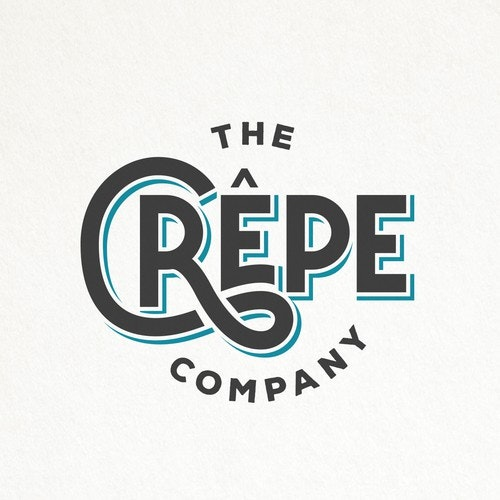 Hipster logo with the title 'HIP AND SIMPLE TYPOGRAPHY LOGO FOR THE CREPE COMPANY '