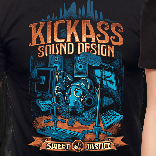 Art t-shirt with the title 'KICKASS vintage t-shirt design for sweet justice!'