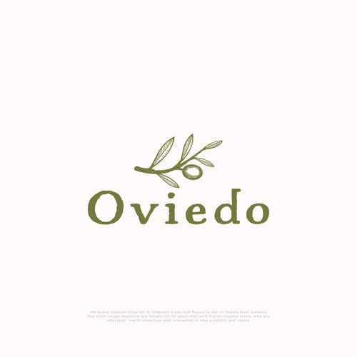 Olive logo with the title 'Hand-drawn logo for Oviedo olive oil company'