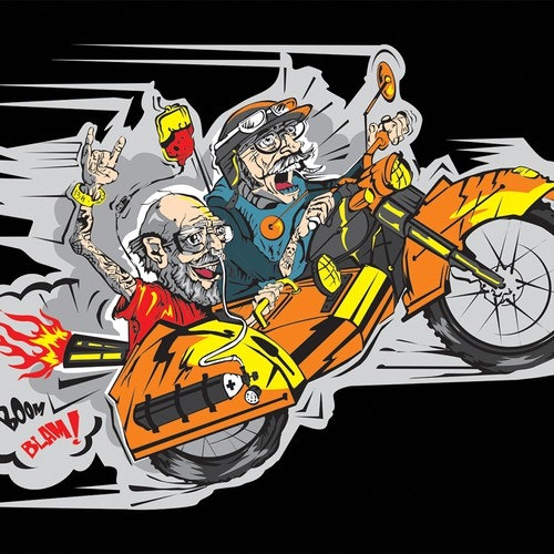 Funny t-shirt with the title '+++Humor Funny Shirt Design for Motorcycle Biker+++Winner guaranteed+++'