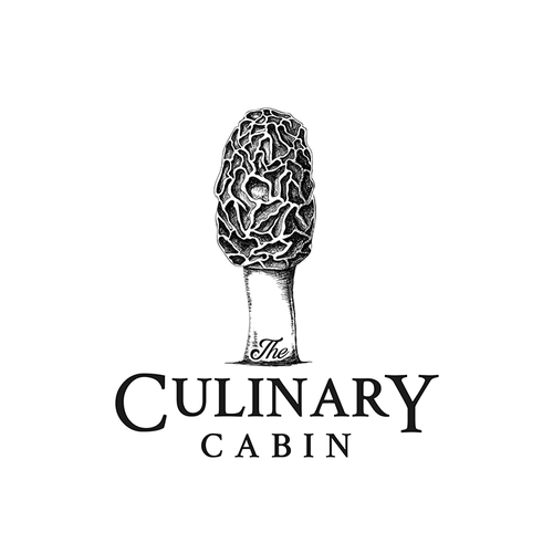Mushroom logo with the title 'Logo concept for THE CULINARY CABIN'