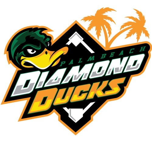 Yellow logo with the title 'duck baseball mascot'