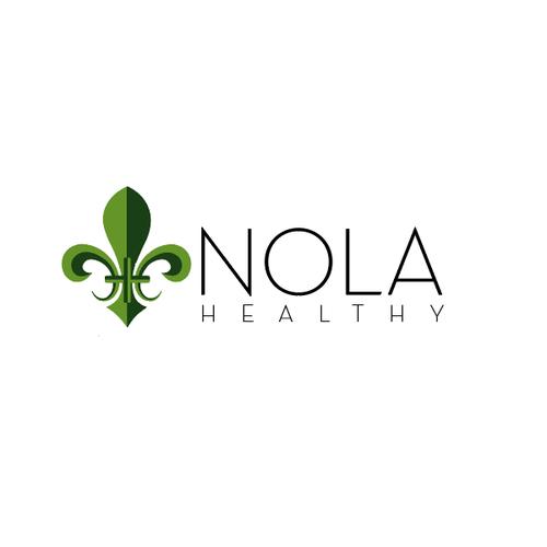 Fleur de lis logo with the title 'Bold Design for Nola Fitness'