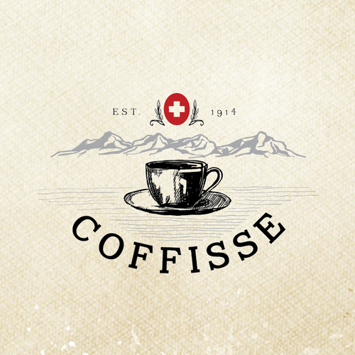 Hand-drawn logo with the title 'Create a strong brand for the best Swiss Coffee'