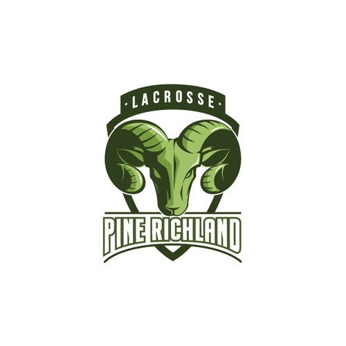 Ram logo with the title 'Pine Richland Lacrosse - Logo Design'
