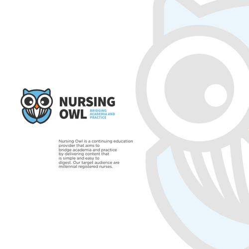 Nurse logo with the title 'NURSING OWL'