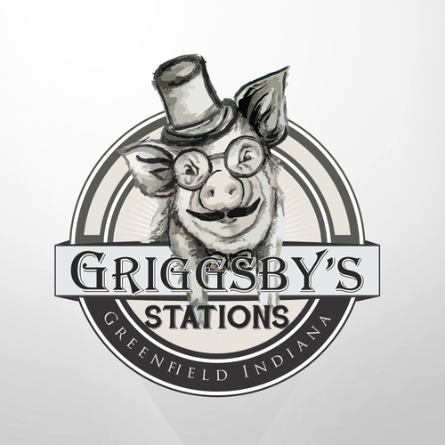 Top hat logo with the title 'Logo for Griggsby's Station'