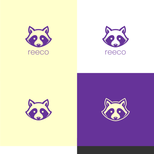 Head logo with the title 'Racoon face mobile app logo design'