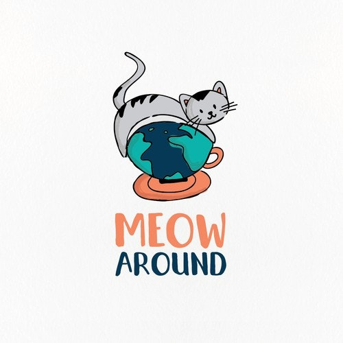 Cup logo with the title 'Fun hand drawn cat cafe logo'