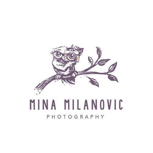 Owl logo with the title 'Logo for lifestyle photography business specialising in family photography, weddings and pet photography.'
