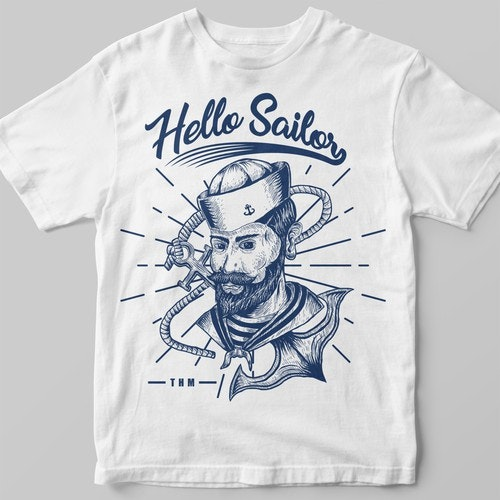 Hand t-shirt with the title 'hello sailor THM'