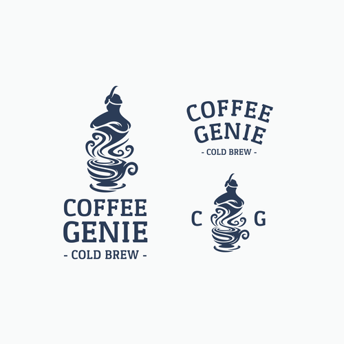 Lamp logo with the title 'Coffee genie'