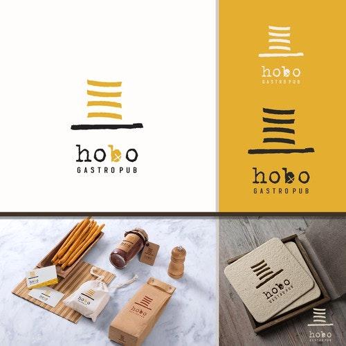 Pub logo with the title 'hobo gastro logo '