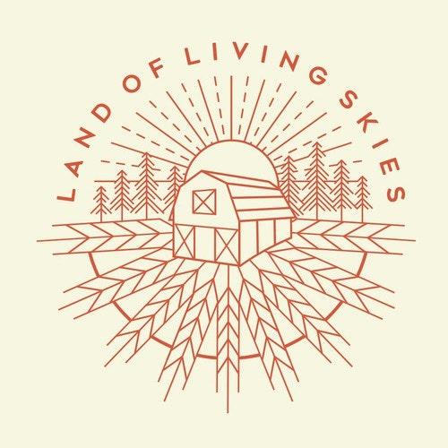 Hipster t-shirt with the title 'Land Of Living Skies, Saskatchewan landscape illustration.'