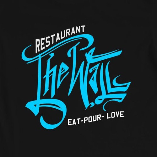 Event t-shirt with the title 'Lettering the wall restaurant'